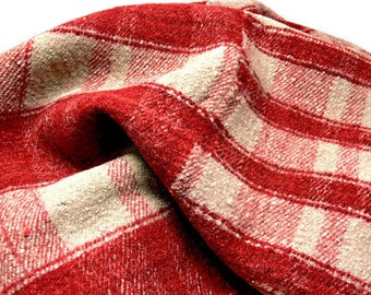 """Vintage Red Plaid Heavy Wool Camp Blanket - Rustic Cabin Decor - 75.5"""" x 62"""" Hand Loomed Coverlet 1940s"""