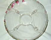 Footed Crystal Relish Platter, Raised Colored Fruit Accents