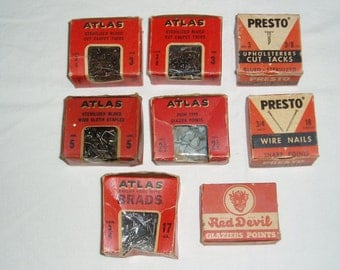 Vintage Hardware Boxes with Product, Atlas-Red Devil-Presto, Brads-Points-Tacks