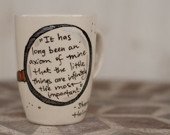 "Sherlock Holmes ""The little things are infinitely the most important"" Hand painted literary quote mug - Arthur Conan Doyle - Med cream"