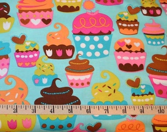Michael Miller. Sweet Treats Turquoise - Cotton Fabric BTY - Choose your cut