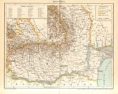 1897 Original Antique Map of Romania