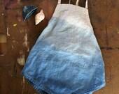 2t INDIGO LINEN ROMPER ombre dip dyed blue baby sunsuit playsuit one piece