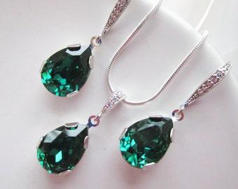 Emerald Green Jewelry Set, Bridesmaids Jewelry Set, Emerald Green Teardrop Earrings,Swarovski Emerald Necklace,Emerald Green Necklace Set
