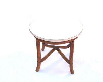 Mid century Modern Rattan Table Vintage Bamboo Round Side Tables Beach Tiki Tropical Rattan Furniture