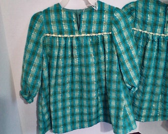 Toddler Dress, Green Plaid, Long Sleeves, Size 2 only, Clearance Sale
