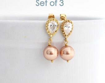 Blush Bridesmaid Earrings, Set Of 3 Bridesmaid Gifts, Rose Gold Bridesmaid Earrings, Bridesmaid Pearl Earrings, Gold Bridesmaid Jewelry