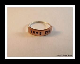Copper Band Ring, Sterling Silver Ring, Little Custom Ring, Custom Size Rings,Thin Sterling Ring, Love, Valentines Day Gift - R-005