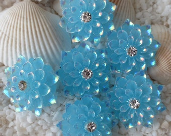 Resin Rhinestone AB Flower Cabochon - 20mm - 12 pcs - Bright Turquoise Blue