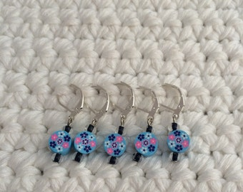 Removable Stitch Markers Floral - 5 Blue Flower Stitch Markers for Crochet and Knitting
