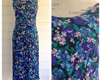 Vintage 1990s Black, Blue, Purple, & Green FLORAL Sundress