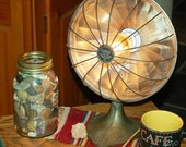 Vintage Copper Light Lamp Re-purposed Bedside Table Stand Edison Bulb Office Accent Upcycled