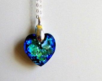 Swarovski Heart Necklace Bermuda Blue Crystal Heart Pendant Blue Heart Necklace Bridal Jewelry Maid of Honor Gift Bridesmaids Jewelry