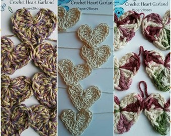 Delicate Crochet Heart Garland available in 3 shades- 12 hearts-lavender, cream, ecru, sage, plum-party, home decor, valentines, baby shower