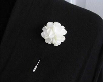 Antique Ivory cream lapel pin, mens boutonniere, grooms boutonniere, groomsmen, wedding lapel pin, mens lapel pin, lapel flower pin, corsage