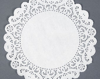 """150 \ Lace Round Paper Doilies - 12 inch white doily - 12"""" extra large placemat DIY lace cupcake holders"""