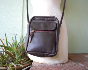Vintage Chocolate Brown Leather Purse Pouch Shoulder Bag Boho Hipie Hipster Prep Native Indian Aztec Small Pouch Crossbody Hobo Bag Travel