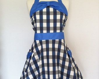 Retro apron circle skirt, blue and white checked fabric, 1950s inspired, fully lined.