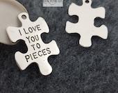 I love you to pieces-puzzle piece charms hippie pendant 20 pcs-T1022