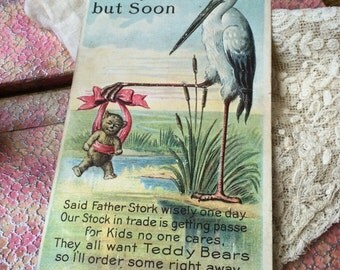 Not Yet But Soon 1908 Antique Stork Teddy Bear Post Card