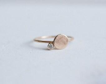 Champagne Diamond Dot Ring | 14k Recycled Gold | Diamond Stacking Ring