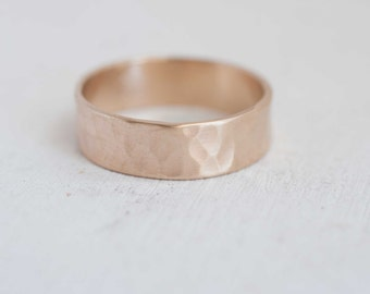 6 x 1 mm Hammered Texture Flat Band | Men's Wedding Ring | 14k Recycled Gold