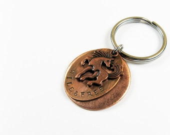 Horse Keychain (Western Cowgirl Gift with Optional Personalized Custom Message on Back)