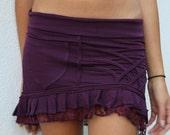PURPLE MINI SKIRT, sexy skirt, tribal clothing, ruffle skirt, pixie clothing, fairy skirt, festival clothing