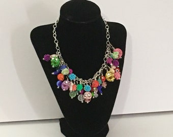 Sugar skull Necklace Day of the Dead Necklace Dia De Los Muertos Costume Gothic Lolita Zombies Statement Necklace Halloween Costume