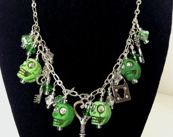 Sugar Skull Necklace,Day of the Dead Jewelry,day of the dead costume,dia de los muertos costume,sugar skulls,zombies