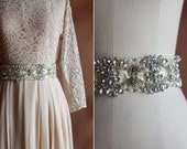 vintage 1980's pale yellow beaded rhinestone & pearl satin wide belt / size xs - s