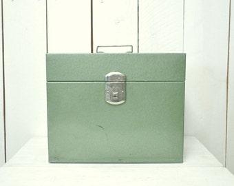 Metal File Box 1960s Green Push Lock Vintage Mid Century Flip Top Office Storage Display Box