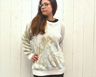 Slouchy Knit Sweater - 1970s White Gold Blue Sweater - Vintage Abstract Print Pullover - Large L