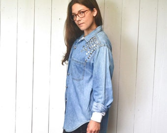 Bedazzled Denim Button Up Shirt 1980s Silver Studded Gemstone Stars Vintage Chambray Top Medium Large