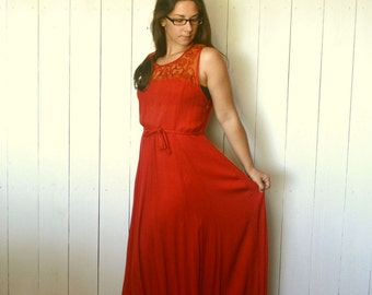 Red Maxi Dress Early 90s Hippie Boho Vintage Lace Floor Length Sun Dress Medium Large