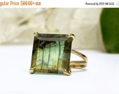 NEW YEARS SALE - Labradorite ring,gold gemstone ring,square ring,cocktail ring,statement ring,double band rings,prong rings