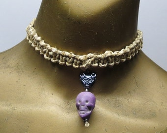SALE Black cat and purple skull beaded choker necklace made with hemp. HCK-876