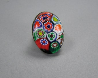 Millefiori Statement Ring, Vintage Costume Jewelry, Adjustable, Italian Ring, Hippie, Boho, Size 9
