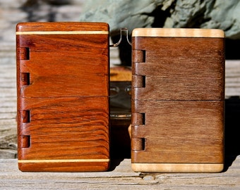 Handmade Wood Business Card Holders of Brazilian Cherry & Maple or Black Walnut with Curly Cherry featuring integral wood hinge