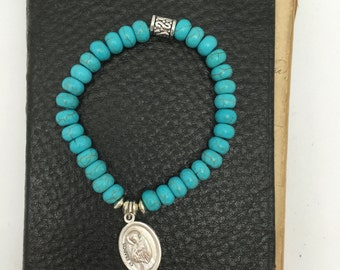 Saint Francis Bracelet Turquoise Beaded Bracelet with Religious Medal St Francis medal