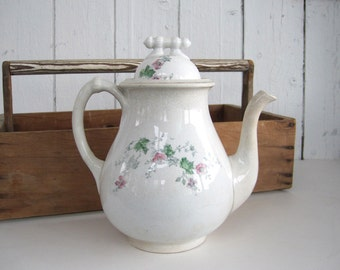Antique Ironstone Coffee Pot White Transferware Pink Floral Wild Rose Cottage Chic Rustic Farmhouse American China Company Ohio