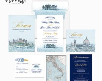 Destination wedding invitation Tuscany Florence Italy Navy Gold - customizable - Wedding Invitation Suite European wedding Deposit Payment