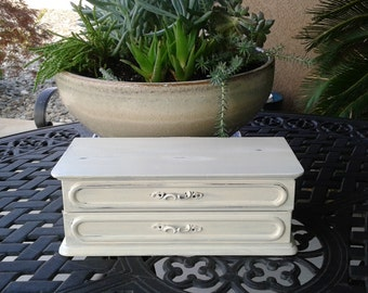 Jewelry Box/ Music Box/ Handpainted/ Shabby Chic/ Cottage Chic/ Vintage White/ OOAK/ Bridesmaid Gift