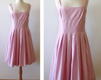 90's Party Pink Silk Sleeveless RALPH LAUREN Pleated Cocktail Dress ~ Sz 12P