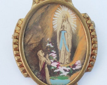 Vintage Brooch of the Apparition of Lourdes Religious Jewelry