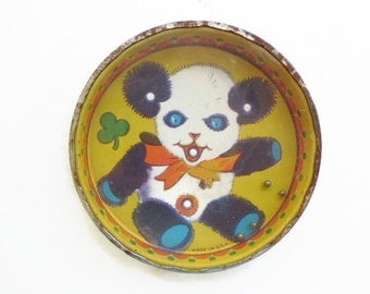 Lithograph Tin Panda Puzzle Toy, Vintage Rolling Ball Toy