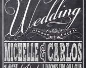 Chalkboard Wedding Invitations, Typography, Custom Wedding Invitation Listing for michy0329