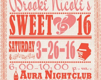 Rush Vintage Music Poster Wedding Invitations - Custom Sweet 16 Listing for lewitas - Coral