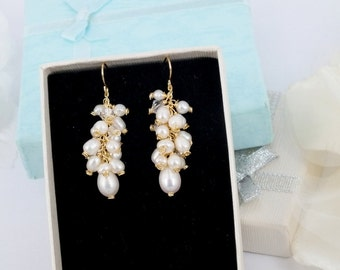 Amy- Freshwater Pearl and Crystal  Bridal Earrings