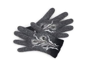 Felted Gloves Merino wool Gray Black Floral